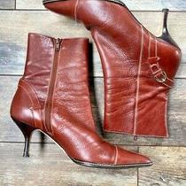 Coach Seanna Mid Calf Booties Women Sz 9 Stiletto Heel Brown Career Leather   Photo