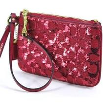 Coach Sequin Wristlet Zip Top 2 Interior Card Pockets Wrist Strap Red 68 Nwt Photo