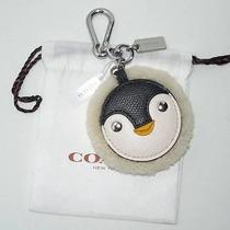 Coach Shearling Leather Penguin Motif Key Ring Hangbag Fob 64753 50 Photo