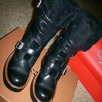 Coach Shearling Moto Boot 6m Q7935 Black/black- New W/ Box Photo