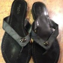 Coach Shelly A00960 Black Leather Thong Sandals With Rubber Wave Soles-Sz 6 Photo
