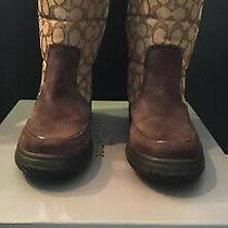 Coach Sherman Signature C Womens Boots Size 8 Chestnut Msrp198 Photo
