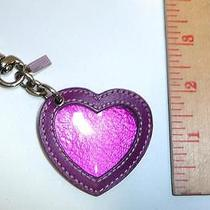 Coach Shimmer Pink & Purple Leather Heart Photo Frame Hangtag Key Ring Fob Photo