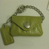 Coach Shiny Mini Green Keychain/ Coin Purse/ Id Badge Holder Photo