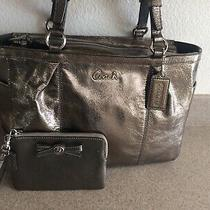Coach Shiny Pewter Bag & Coach Pewter Wristlet Photo