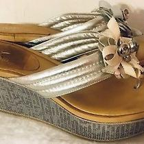Coach Shoes Jainis Wedges Sandal Platform Metallic Kid Flower Silver Sequin 7 B Photo