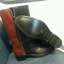 Coach Short Double Zip Black/sienna Western Boot Size 6b Photo
