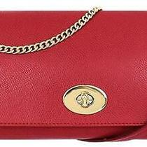 Coach Shoulder Bag / Clutch Genuine Leather Red in Excellent Condition Photo