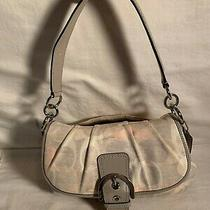 Coach Shoulder Purse Soho Gray Linen Leather Hobo Authentic A1275 F19238  Bag Photo