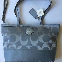 Coach Shoulder Tote Bag Jacquard With Gray Trim F17433 - New Photo