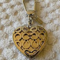 Coach Sig C Mirrored Heart Locket Fob Keychain Key Ring Charm Photo
