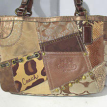 Coach Sig. Metallic Brown Gallery Patchwork Animal Print Leather Tote Bag 12902 Photo