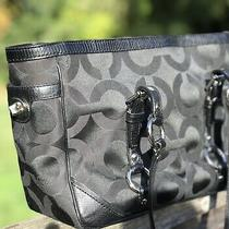 Coach Signature 19404m Gallery Op Art Sateen Shoulder Purse Bag Black W/ Silver Photo