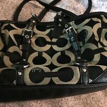 Coach Signature 19404m Gallery Op Art Sateen Shoulder Purse Bag Black With Tan Photo