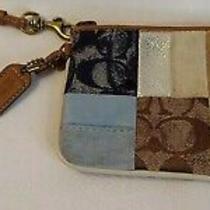 Coach Signature Ashley Large Wristlet Ziptop Black White Handbag Clutch Photo