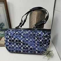 Coach Signature Bag Handbag Navy Blue Tote Bag Photo
