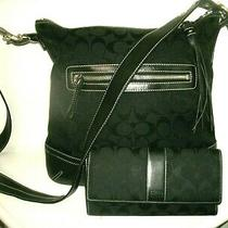 Coach Signature Black Canvas and Leather Crossbody W/matching Coach Wallet Euc Photo