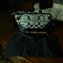 Coach Signature Black Diaper Bag Multi-Function Leather Trim W/changing Pad Photo