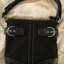 Coach Signature Black Jacquard Buckle Shoulder Bag Purse - Excellent - Dust Bag Photo