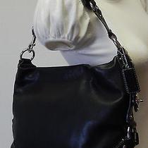 Coach Signature Black Leather Hobo Slouch Shoulder Bag Handbag Purse Photo