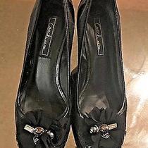 Coach Signature Black Patent Leather Wedge Heel Euc Photo