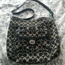 Coach Signature Black & Tan Canvas Crossbody Bag Purse  Photo