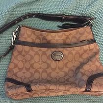 Coach Signature Brown Bucket Purse With Dark Brown and Silver Detail Photo