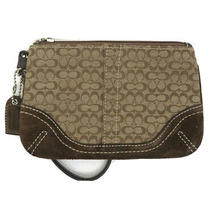 Coach Signature Brown Canvas & Suede Wristlet Wallet Purse Photo
