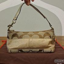 Coach Signature Brown Gold Stripe Satchel Bag - 11096 Photo