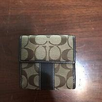 Coach Signature & Brown Leather Bi Fold Wallet Photo
