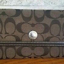 Coach Signature Brown Leather Trim Trifold Wallet Card Case  Purse Clutch  Bag Photo