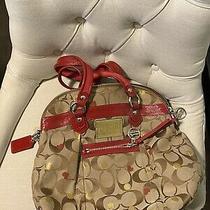 Coach Signature Brown Red Leather Lrg Tote Purse Shopper Bag Euc Photo