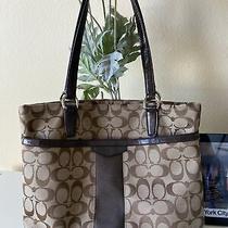 Coach Signature Brown Shoulder Bag Handbag Purse Pre-Owned Photo