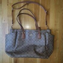Coach Signature Brown Tan Multifunction Laptop Diaper Tote Bag Euc Photo