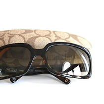 Coach Signature Brown Tortoise Samantha Sunglasses W/ Coach Case Photo