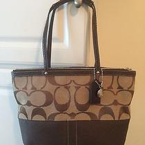 Coach Signature Brown Tote Bag F13548 Medium Like New Photo