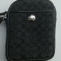 Coach Signature C Black Multifunction Pouch/camera/phone Case. Euc Photo
