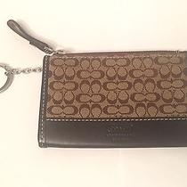 Coach Signature C Brown Canvas Leather Change Purse W/ Card Holder & Key Ring Photo