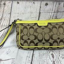 Coach Signature C Fabric & Leather Wristlet Purse Tan W Yellow Trim Clutch Zip Photo