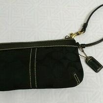 Coach Signature C Jacquard Black Leather Small Wristlet Pouch Clutch Purse Photo