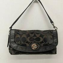 Coach Signature C Jacquard Leather Turnlock Wristlet Clutch Wallet Black Guc Photo