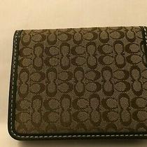 Coach Signature C Jacquard Logo Canvas Bi-Fold Card Case Wallet Brown Leather  Photo