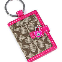 Coach Signature C Khaki Magenta Picture Frame Key Ring Holder New Photo