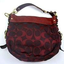 Coach Signature C Logo Classic Zoe Large Hobo Shoulder Bag Purse Red F12674  Photo