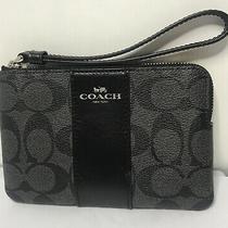 Coach Signature C Pvc Black Smoke Leather Corner Zip Wristlet Wallet Purse New Photo