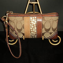 Coach Signature c's Mini Wristlet Khaki Canvas/tan Leather Fits Iphone 4 & 5   Photo