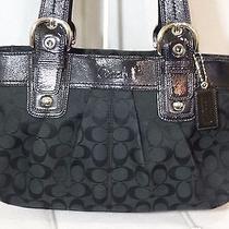 Coach Signature c's Soho Pleated Black W Silver Purse Handbag Satchel Tote 13742 Photo