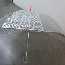 Coach Signature C Silver & Clear Stick Umbrella Limited Edition  Photo
