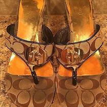 Coach Signature C Thong Sandal Wedge Heel Shoes 8.5 Tan Brown Buckle Photo