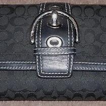 Coach Signature C Trifold Wallet Black Jacquard With Leather Trim Silver Buckle Photo